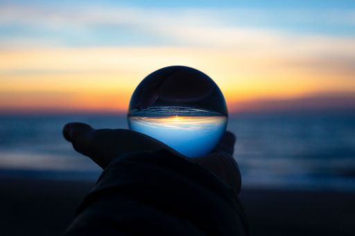 Crystal in hand during sun set