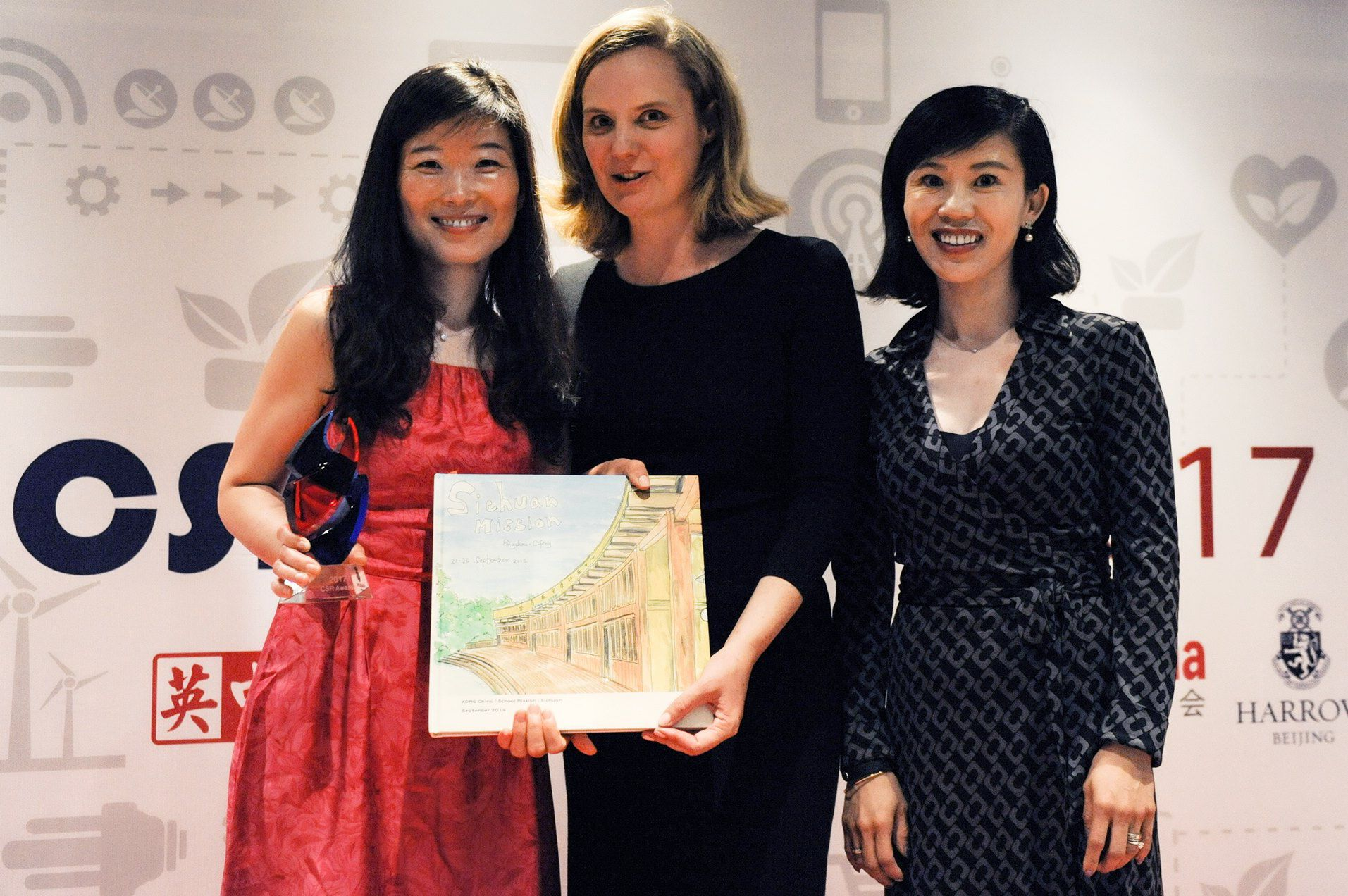 Daisy Shen (left) and Rachel Layburn (right), partners of KPMG China, and Clare Pearson (middle), chair of the British Chamber of Commerce in China, at the awards ceremony