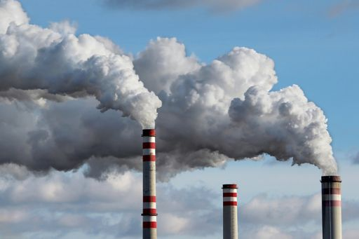 White smoke coming out of chimney, polluted sky