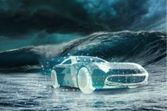 Digital pixal car running on waves in cloudy weather
