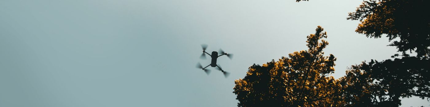Drone flying between the trees