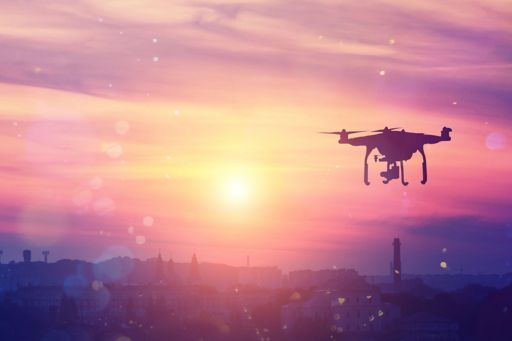 Drone in sky during sunset