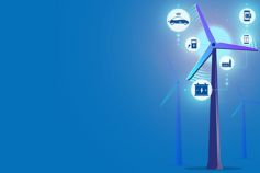 Chapter 2: The acceleration of electric vehicles - illustration of a wind turbine with energy icons