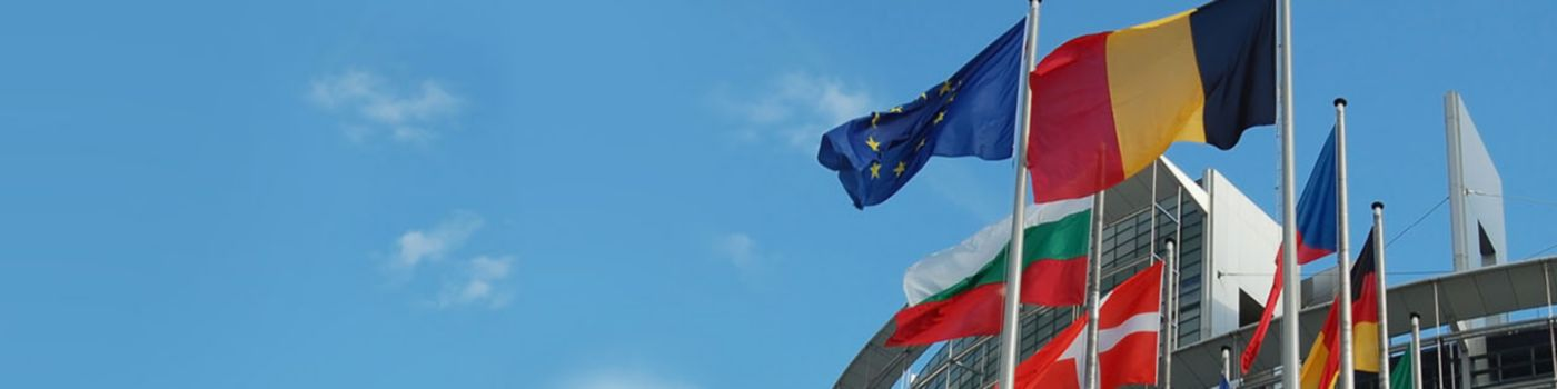 Belgium and EU flags in front of EU commission