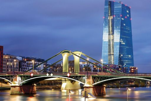 Evening view of building and bridge