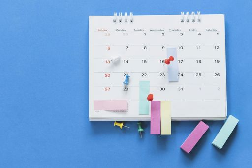 Calendar on Blue Background