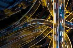 Shanghai highway junction aerial view at night
