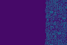 Teal text on a dark purple background