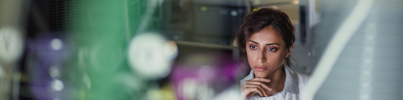 Female food technologist in the lab
