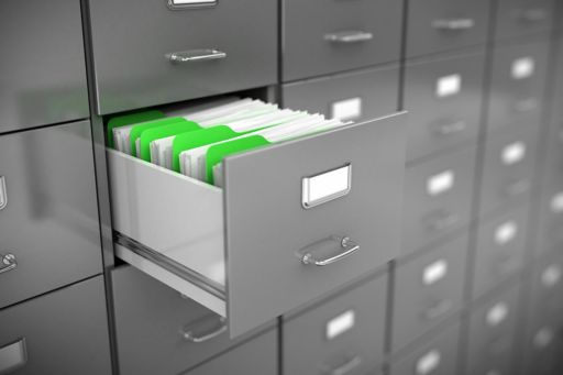 Files organised in a document locker
