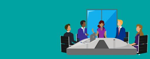 Five people meeting illustration against turquoise background