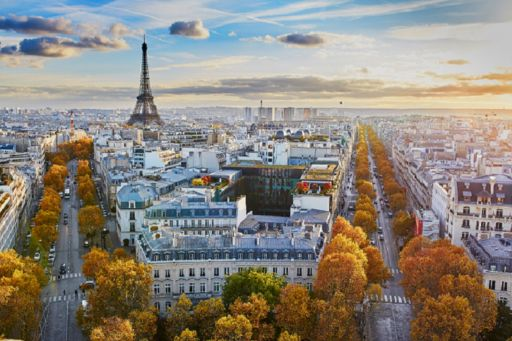 Cityscape with view of the Eiffel Tower at sunrise.