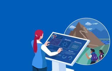 Girl meteorologist using screen and two hikers - illustration