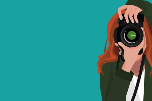 Girl using camera on green background