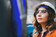 Girl with safety industry