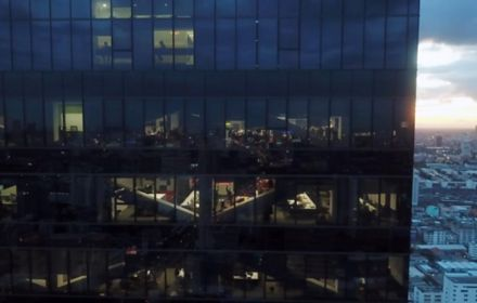 Glass building view from a drone shot