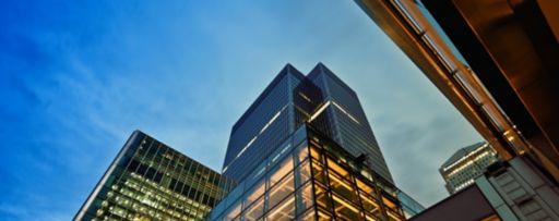 Glass buildings with evening view