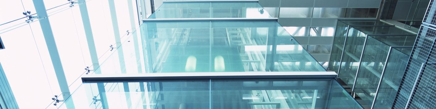 Glass floor of office building