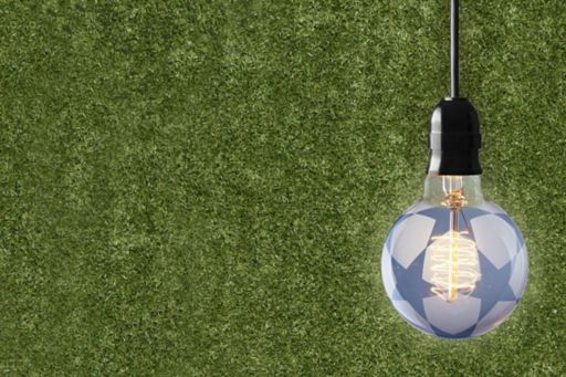 Glowing bulb over grass background