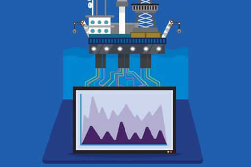 Graph readings of manufacturing plant on screen on blue background
