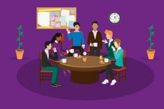 Group of people having team meeting and coffee in office against purple background, Illustration