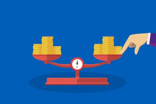 Hand on weighing machine on blue background