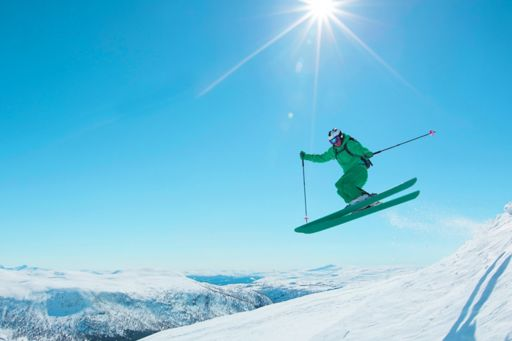 Freestyle skier in mid-jump