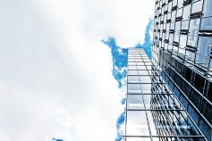 Glass building on a cloudy day
