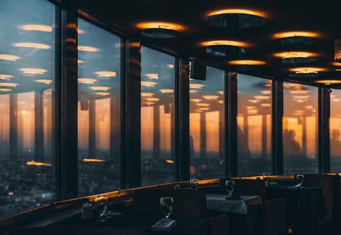 Inner dark chrome and glass modern contemporary restaurant interior located in Russia, with empty ready tables, reflections and cityscape outside on dramatic evening sunset