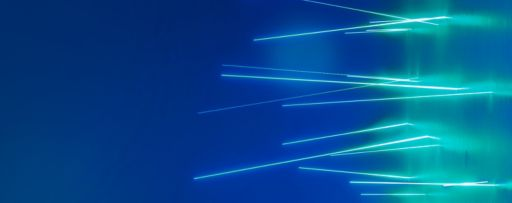 Horizontal cyan light lines on blue background