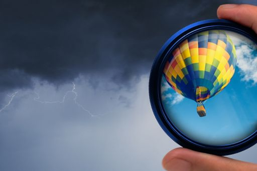 Hot air balloon through circular lens