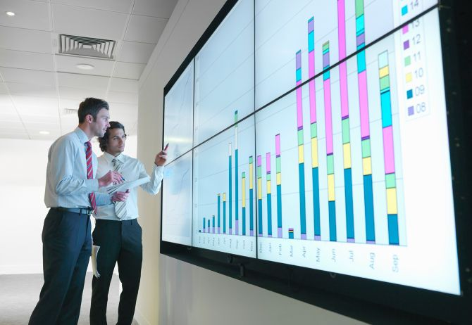 business men with graphs on screen