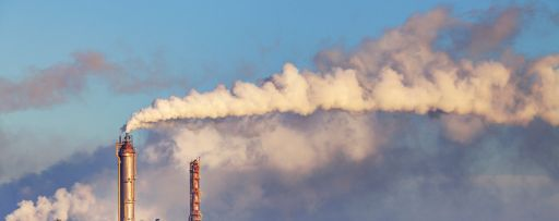 Factory smoke in the sky