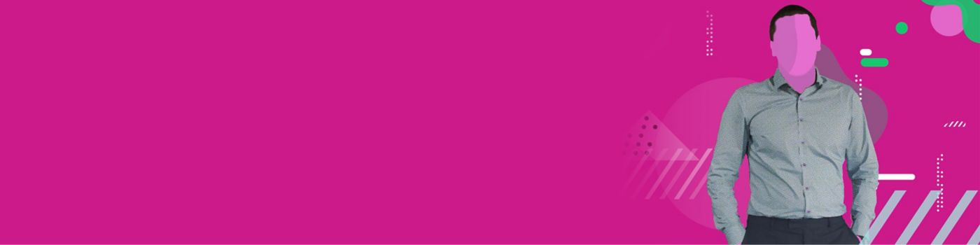 Executive on pink background, graphic style
