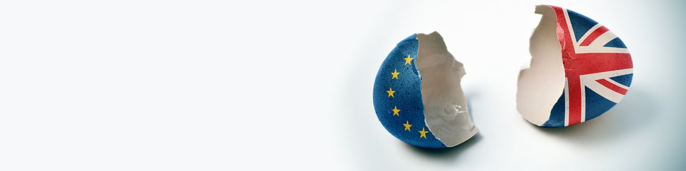 Egg painted with EU and UK flags