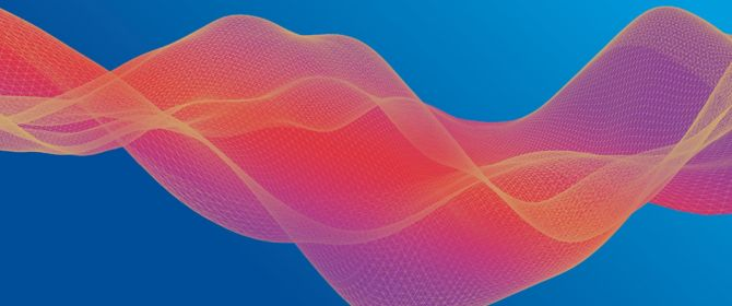 Abstract image - orange mesh wave on blue gradient background