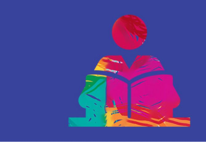 Education abstract illustration of person reading book on purple background