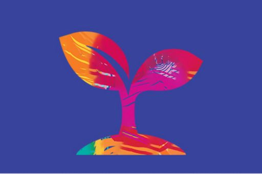 Sustainability abstract illustration of plant on purple background