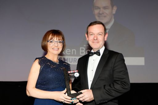 Cathriona Hallahan, chair of The Irish Times Business Awards 2019 judging panel and MD of Microsoft Ireland, presents the CFO of the Year Award to Ken Bowles from Smurfit Kappa.