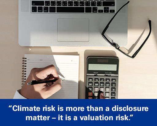 """Executive using calculator with text overlaid """"Climate risk is more than a disclosure matter – it is a valuation risk."""""""