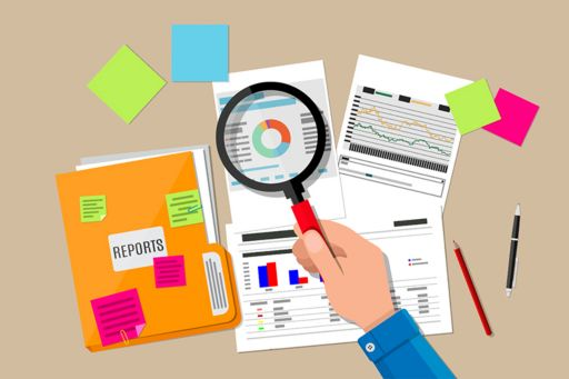 Hand holding magnifying glass and inspecting documents on desktop - illustration