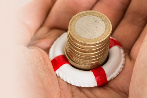 Hand holding euro coins in a lifebuoy