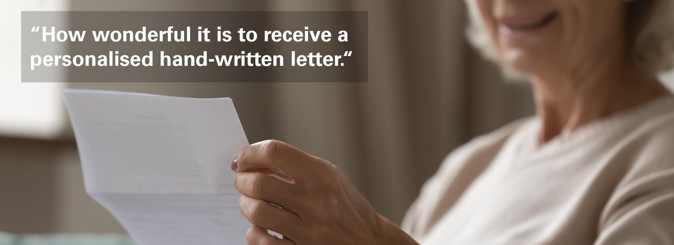 Lady reading a handwritten letter