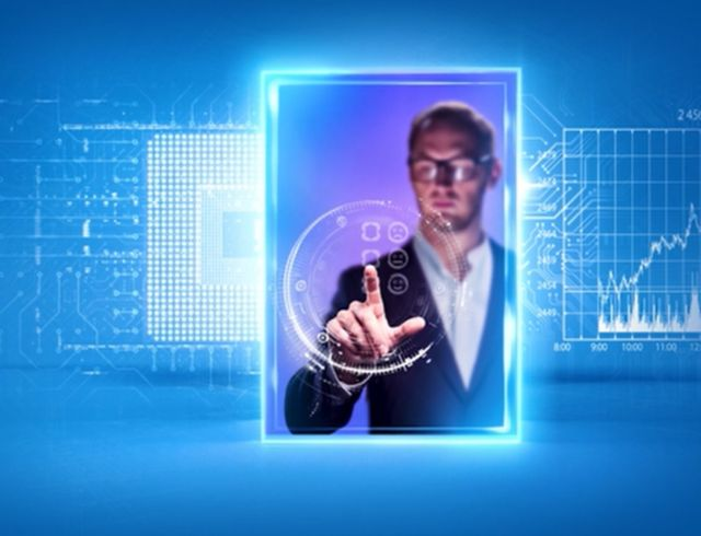 Businessman using touch screen device