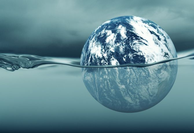 Globe immersed in water