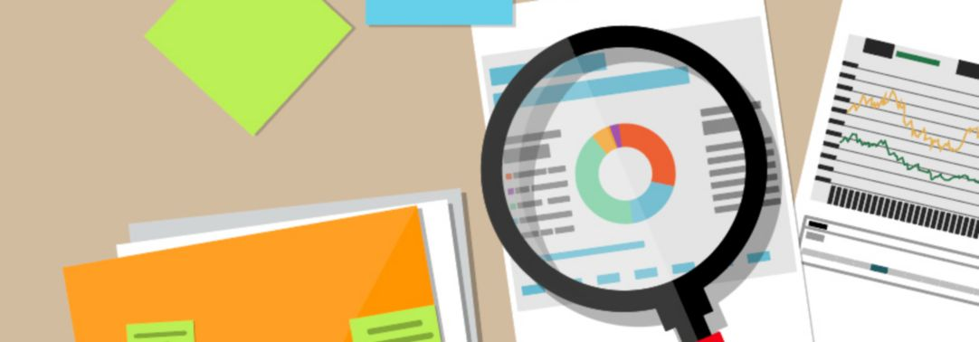 Illustration of magnifying glass inspecting documents on desktop