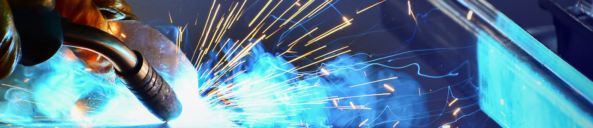 Welding giving off sparks