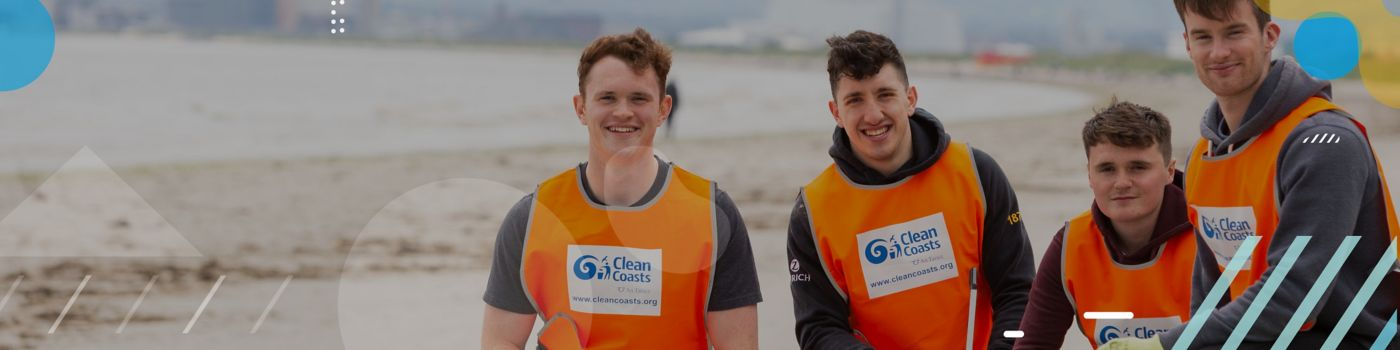 Employees on beach clean up