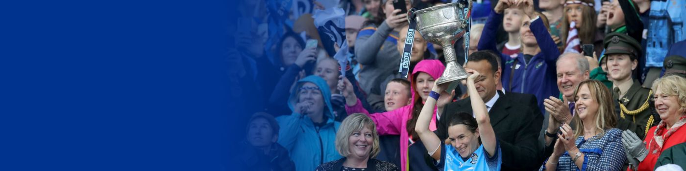 Sinéad Aherne lifting the Brendan Martin cup