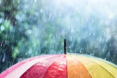 Rainbow umbrella in rain